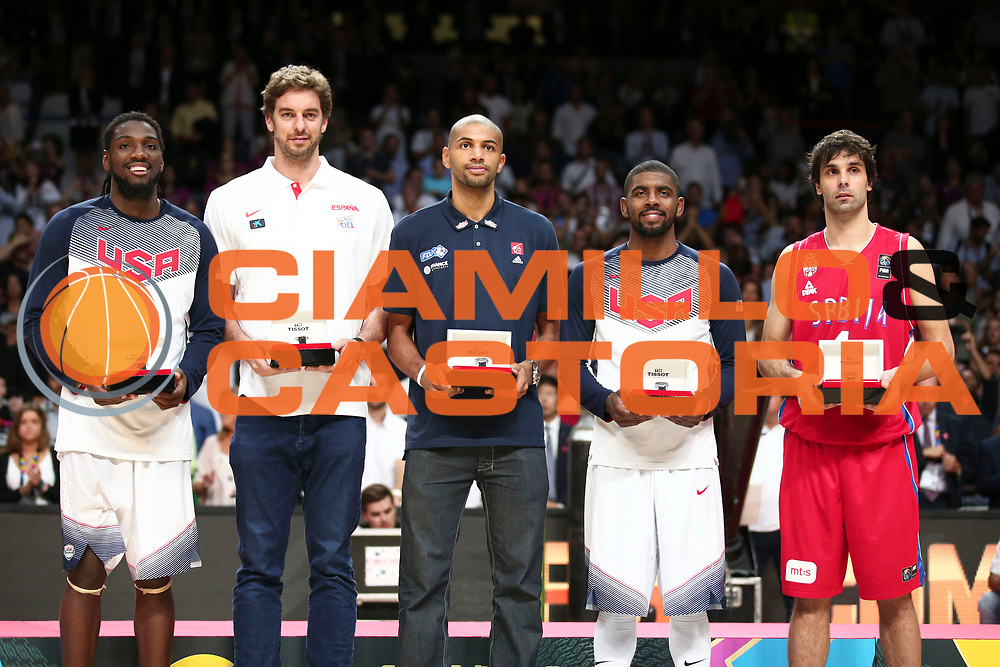 DESCRIZIONE : Madrid FIBA Basketball World Cup Spain 2014 Final USA Serbia <br /> GIOCATORE : Kennet Faried Pau Gasol Nicolas Batum Kyrie Irving Milos Teodosic<br /> CATEGORIA : premiazione ceremony award best 5<br /> SQUADRA : <br /> EVENTO : FIBA Basketball World Cup Spain 2014<br /> GARA :  USA Serbia<br /> DATA : 14/09/2014<br /> SPORT : Pallacanestro <br /> AUTORE : Agenzia Ciamillo-Castoria/ElioCastoria<br /> Galleria : FIBA Basketball World Cup Spain 2014<br /> Fotonotizia : Madrid FIBA Basketball World Cup Spain 2014 Final USA Serbia