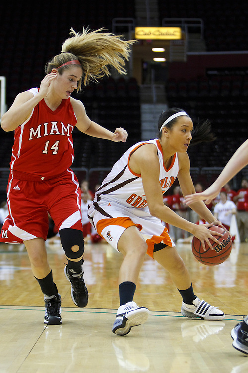 13 March 2010:   Miami's (Ohio) Michelle Oswalt (14) and Bowling Green's Simone Eli (22) during the MAC Tournament game basketball game betweenBowling Green and Miami Ohio at Quicken Loans Arena in Cleveland, Ohio.
