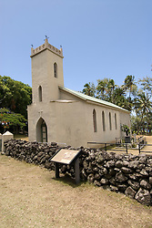 Hawaii: Molokai, church and gravesite at Kalawao of leper priest, Father Damien de Veuster.Photo himolo167-72280.Photo copyright Lee Foster, www.fostertravel.com, lee@fostertravel.com, 510-549-2202