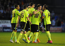 Jake Forster-Caskey of Brighton & Hove Albion celebrates with his team mates after scoring - Mandatory byline: Dougie Allward/JMP - 07966386802 - 25/08/2015 - FOOTBALL - Bescot Stadium -Walsall,England - Walsall v Brighton - Capital One Cup - Second Round