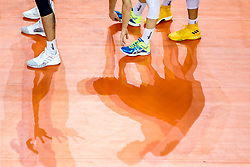 A feature of players and shadows during volleyball match between National teams of Slovenia and Russia in quaterfinals of 2019 CEV Volleyball Men's European Championship in Ljubljana, on September 23, 2019 in Arena Stozice. Ljubljana, Slovenia. Photo by Matic Klansek Velej / Sportida