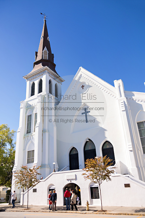 Historic Mother Emanuel African Methodist Episcopal Church October 21, 2015 in Charleston, South Carolina. The church was the site of the mass shooting that killed nine-people in June 2015.