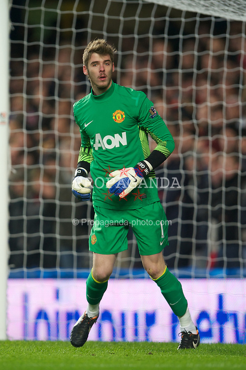 LONDON, ENGLAND - Sunday, February 5, 2012: Manchester United's goalkeeper David de Gea in action against Chelsea during the Premiership match at Stamford Bridge. (Pic by David Rawcliffe/Propaganda)