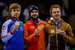 14-01-2018 DUI: ISU European Short Track Championships 2018 day 3, Dresden<br /> Sjinkie Knegt NED #2, zilver Semen Elistratov RUS #12, brons Roberto Pukitis LAT #204