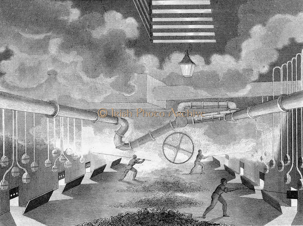 General view of a gas works, showing retorts being charged. From Charles Partington 'The British Cyclopaedia', London, 1835. Copperplate engraving.