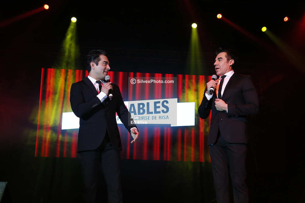 """ANAHEIM, CA - FEBRUARY 25: Actors and comedians Adrian Uribe and Omar Chaparro perform on stage during the presentation of their comedy """"Los Imparables"""" at the M3 Live in Anaheim, California on February 25, 2017.  Byline, credit, TV usage, web usage or linkback must read SILVEXPHOTO.COM. Failure to byline correctly will incur double the agreed fee. Tel: +1 714 504 6870."""