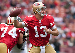 October 11, 2009; San Francisco, CA, USA;  San Francisco 49ers quarterback Shaun Hill (13) in the third quarter against the Atlanta Falcons at Candlestick Park. Atlanta won 45-10.