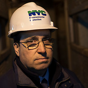 February 19, 2015 - New York, NY : Vincent Sapienza, P.E., NY Environmental Protection Deputy Commissioner, Bureau of Engineering, Design & Construction is photographed near the sewage intake, deep underground in the Newtown Creek Wastewater Treatment Plant on Thursday afternoon. The city is calling for new regulations on wet wipes which have come to constitute the vast majority of solid waste entering the city's sewage treatment system. CREDIT: Karsten Moran for The New York Times