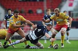 Bristol Rugby Lock Joe Joyce attempts to get the loose ball - Mandatory byline: Dougie Allward/JMP - 07966 386802 - 22/11/2015 - RUGBY - Ashton Gate - Bristol, England - Bristol Rugby v Scarlets Select - British & Irish Cup
