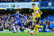 Scunthorpe's Kevin van Veen takes on Chelsea's Pedro during the The FA Cup third round match between Chelsea and Scunthorpe United at Stamford Bridge, London, England on 10 January 2016. Photo by Shane Healey.