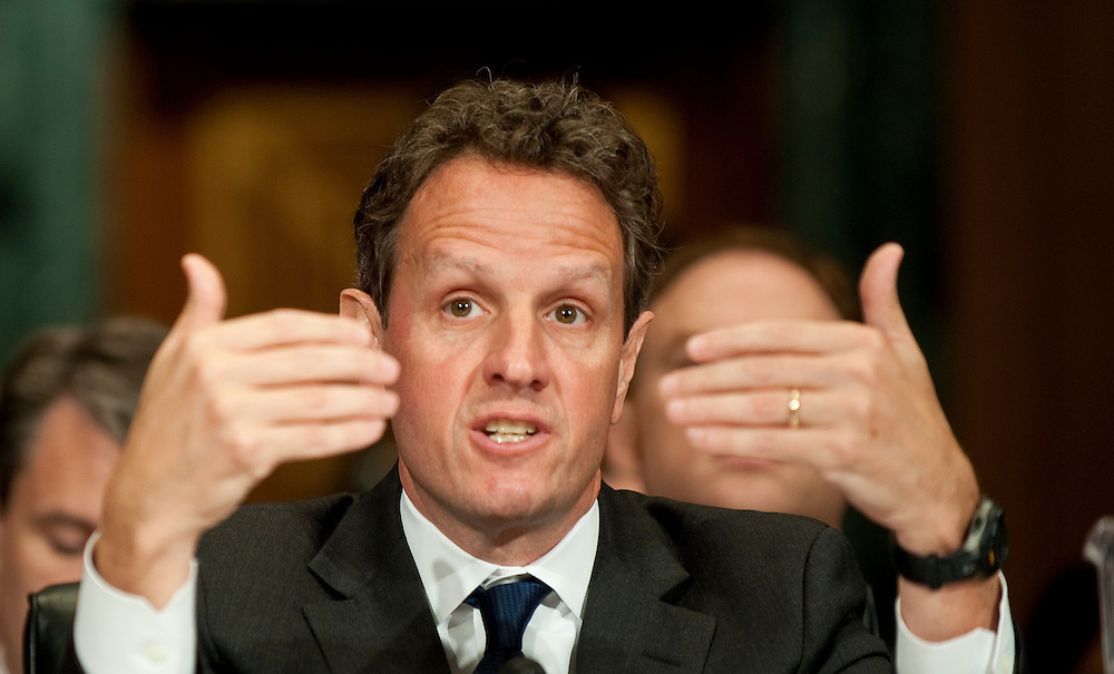May 4,2010 - Washington, District of Columbia USA - Treasury Secretary Timothy Geithner testifies before a Senate Finance Committee hearing on President Obama's  proposed  fee on financial institutions regarding TARP (Troubled Asset Relief Program).(Credit Image: © Pete Marovich/ZUMA Press)