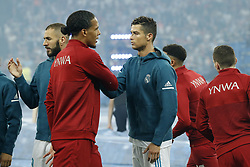 (L-R) Karim Benzema of Real Madrid, Virgil van Dijk of Liverpool FC, Cristiano Ronaldo of Real Madrid during the UEFA Champions League final between Real Madrid and Liverpool on May 26, 2018 at NSC Olimpiyskiy Stadium in Kyiv, Ukraine