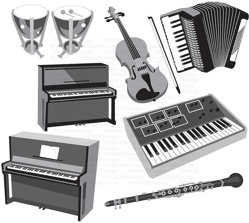 Timpani, violin, accordian,piano,keyboard and clarinet