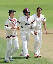 Nottinghamshire's Michael Lumb is caught by Somerset's Jim Allenby off the bowling of Somerset's Abdur Rehman as he celebrates with team mates Tom Abell and Michael Bates - Photo mandatory by-line: Harry Trump/JMP - Mobile: 07966 386802 - 14/06/15 - SPORT - CRICKET - LVCC County Championship - Division One - Day One - Somerset v Nottinghamshire - The County Ground, Taunton, England.