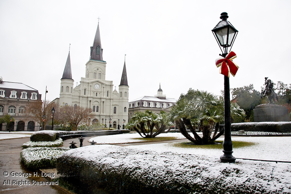 Snow on St. Louis Cathedral and Jackson Square in the French Quarter of New Orleans; December 11, 2008