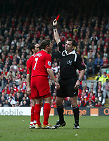 Photo: Andrew Unwin.<br />Liverpool v Everton. The Barclays Premiership. 25/03/2006.<br />Liverpool's Steven Gerrard (not in picture) is shown the red card by the referee, Phil Dowd (R).
