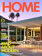 Home Magazine cover story Eldorado Country club in Indian wells. William F. Cody Mid Century Modern Home remolded.