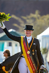 WERTH Isabell (GER)<br /> Siegerehrung/Meisterehrung<br /> Longines Großer Optimum Preis <br /> präsentiert von das Meggle GmbH & Co. KG<br /> Nat. Dressurprüfung Kl. S**** - Grand Prix Kür <br /> Finale Deutsche Meisterschaften<br /> Balve Optimum - Deutsche Meisterschaft Dressur 2020<br /> 20. September2020<br /> © www.sportfotos-lafrentz.de/Stefan Lafrentz