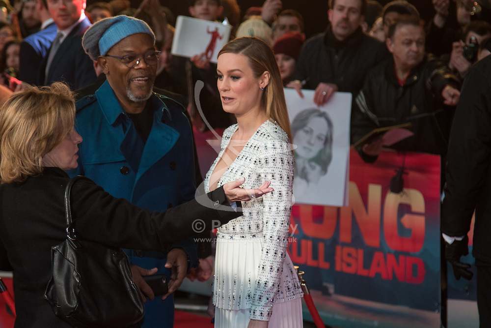 Leicester Square, London, February 28th 2017. Celebrities, VIPs and cast members of Kong: Skull Island, a Warner Brothers release, gather on the red carpet ahead of the film's European Premiere in London. The film stars Tom Hiddleston, Brie Larson, Samuel L Jackson, Tom C Reilly, Toby Kebbel and is directed by Jordan Vogt-Roberts. PICTURED: Brie Larson