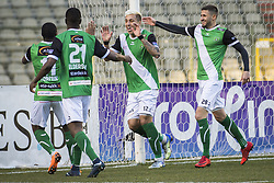 February 17, 2018 - Brussels, BELGIUM - Cercle's Queiroz Barcelos Crysan celebrates with his teammates after scoring a soccer game between Union Saint-Gilloise and Cercle Brugge, in Brussels, Saturday 17 February 2018, on day 27 of the division 1B Proximus League competition of the Belgian soccer championship. BELGA PHOTO LAURIE DIEFFEMBACQ (Credit Image: © Laurie Dieffembacq/Belga via ZUMA Press)