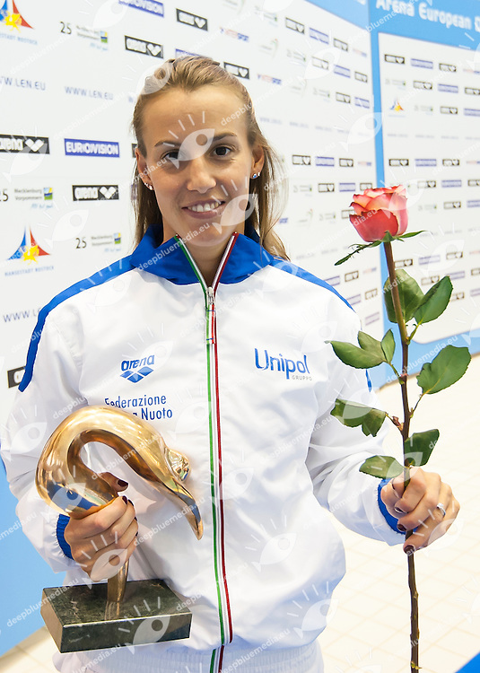 Tania Cagnotto ITA and Patrick Hausding GER awarded as LEN divers of the Year<br /> Medal ceremony<br /> Day 05 13/06/2015  <br /> 2015 Arena European Diving Championships<br /> Neptun Schwimmhalle<br /> Rostock Germany 09-14 June 2015 <br /> Photo Giorgio Perottino/Deepbluemedia/Insidefoto