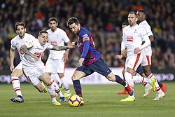 January 13, 2019 - Barcelona, Catalonia, Spain - FC Barcelona forward Lionel Messi (10) during his goal number four hundred at ''La Liga'' during the match FC Barcelona against Eibar, for the round 19 of the Liga Santander, played at Camp Nou  on 13th January 2019 in Barcelona, Spain. (Credit Image: © Mikel Trigueros/NurPhoto via ZUMA Press)