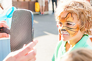 Little boy has face painted like a tiger at the Farmer's Market in Down town Boise, Idaho. MR