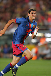 Barcelona's Zlatan Ibrahimovic makes his debut at the Nou Camp during their 44th Trophy Joan Gamper friendly football match against Manchester City at Camp Nou stadium in Barcelona on August 19, 2009.