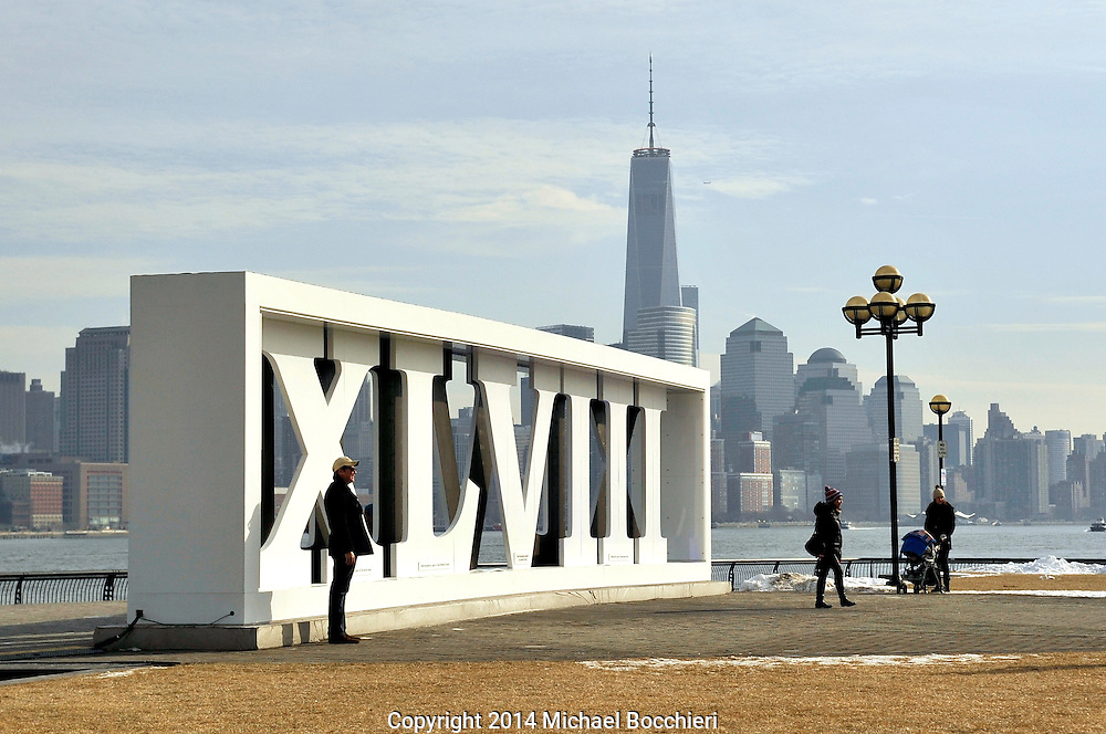 HOBOKEN, NJ - January 31:  A 12-foot sculpture of the Super Bowl Roman numerals, that reads XLVIII, sits on display as part of a weeklong party at Pier A Park on January 31, 2014 in HOBOKEN, NJ. Super Bowl XLVIII is being hosted at Metlife Stadium in East Rutherford, New Jersey and is between the Seattle Seahawks and the Denver Broncos. (Photo by Michael Bocchieri/Bocchieri Archive)
