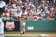 San Francisco Giants third baseman Christian Arroyo (22) covers third base against the Los Angeles Dodgers at AT&T Park in San Francisco, California, on April 27, 2017. (Stan Olszewski/Special to S.F. Examiner)