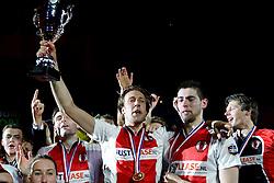 05-04-2014 NED: Korfbal League Finale PKC/Hagero - TOP/Justlease.nl, Rotterdam<br /> In de Rotterdamse Ahoy wint TOP met 22-21 van PKC / De topscoorders Daniel Harmzen en Mick Snel