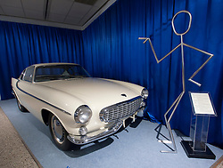 Volvo Prototype P1800 sports car as used on TV The Saint on display at Volvo Museum in Gothenburg Sweden