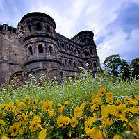 Porta Nigra (Black Gate) in Trier, Germany. Built between 186 and 200 AD, it is the largest Roman city gate North of the Alps. Built as a entry control point the original walled Roman city, it remains today as a World heritage site.