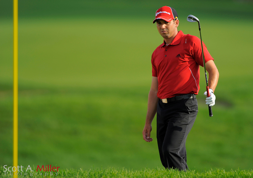 Aug 13, 2009; Chaska, MN, USA; Sergio Garcia (ESP) lines up his shot from a greenside bunker on the 11th hole during the first round of the 2009 PGA Championship at Hazeltine National Golf Club.  ©2009 Scott A. Miller