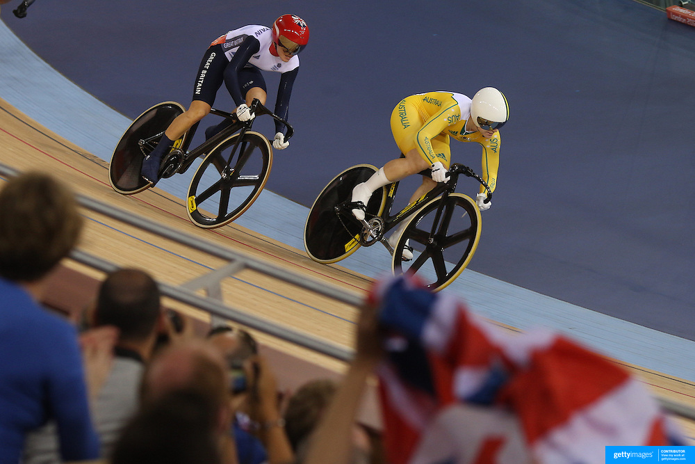 Victoria Pendleton, Great Britain and Anna Meares, Australia, in action during the Women's Keirin competition during the track cycling at the Olympic Velodrome during the London 2012 Olympic games London, UK. 3rd August 2012. Photo Tim Clayton