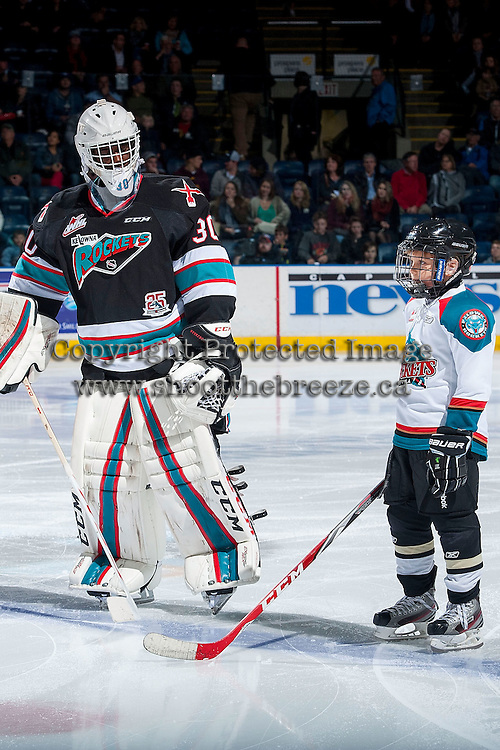 KELOWNA, CANADA - OCTOBER 23: Michael Herringer #30 of Kelowna Rockets lines up with the Pepsi Save On Foods player of the game against the Prince George Cougars on October 23, 2015 at Prospera Place in Kelowna, British Columbia, Canada.  (Photo by Marissa Baecker/Shoot the Breeze)  *** Local Caption *** Michael Herringer; Pepsi Save On Foods Player;