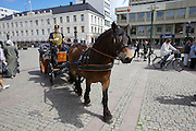 Malmö. Stortorget (Large Square). Sunday gathering of the Husartroppen (Hussar Troops). Roland Paulsson with his horse carriage.