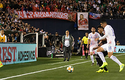 March 22, 2019 - Pablo Hernandez (16) of Chile and Jesus Gallardo (23) of Mexico fight for possession of the ball during Mexico's 3-1 victory over Chile. (Credit Image: © Rishi Deka/ZUMA Wire)