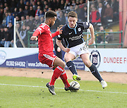 Dundee's Stephen McGinn runs at Aberdeen&rsquo;s Shaleum Logan - Dundee v Aberdeen, SPFL Premiership at Dens Park<br /> <br />  - &copy; David Young - www.davidyoungphoto.co.uk - email: davidyoungphoto@gmail.com