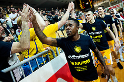 Corin Darius Henry of Sixt Primorska, Zan Mark Sisko of Sixt Primorska celebrate with fans after winning during basketball match between KK Sixt Primorska and KK Hopsi Polzela in final of Spar Cup 2018/19, on February 17, 2019 in Arena Bonifika, Koper / Capodistria, Slovenia. KK Sixt Primorska became Slovenian Cup Champion 2019. Photo by Vid Ponikvar / Sportida