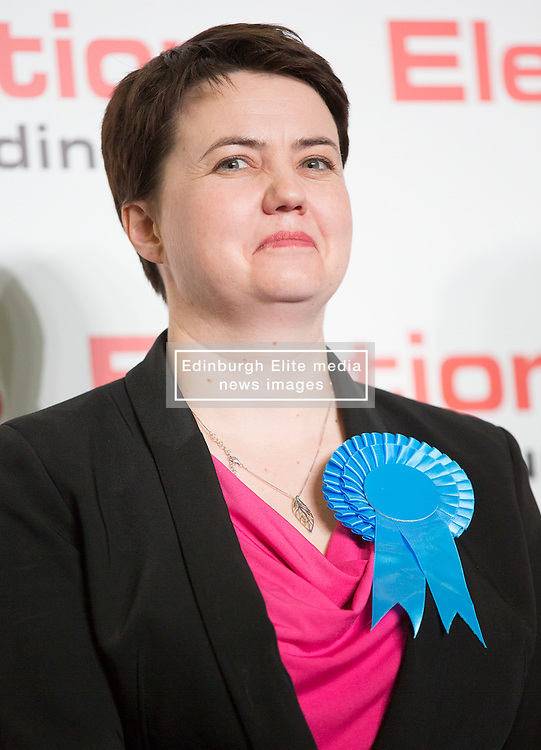 Scottish Parliament Election 2016 Royal Highland Centre Ingliston Edinburgh 05 May 2016; Ruth Davidson (Scottish Conservative leader) is all smiles as she wins her seat during the Scottish Parliament Election 2016, Royal Highland Centre, Ingliston Edinburgh.<br /> <br /> (c) Chris McCluskie | Edinburgh Elite media