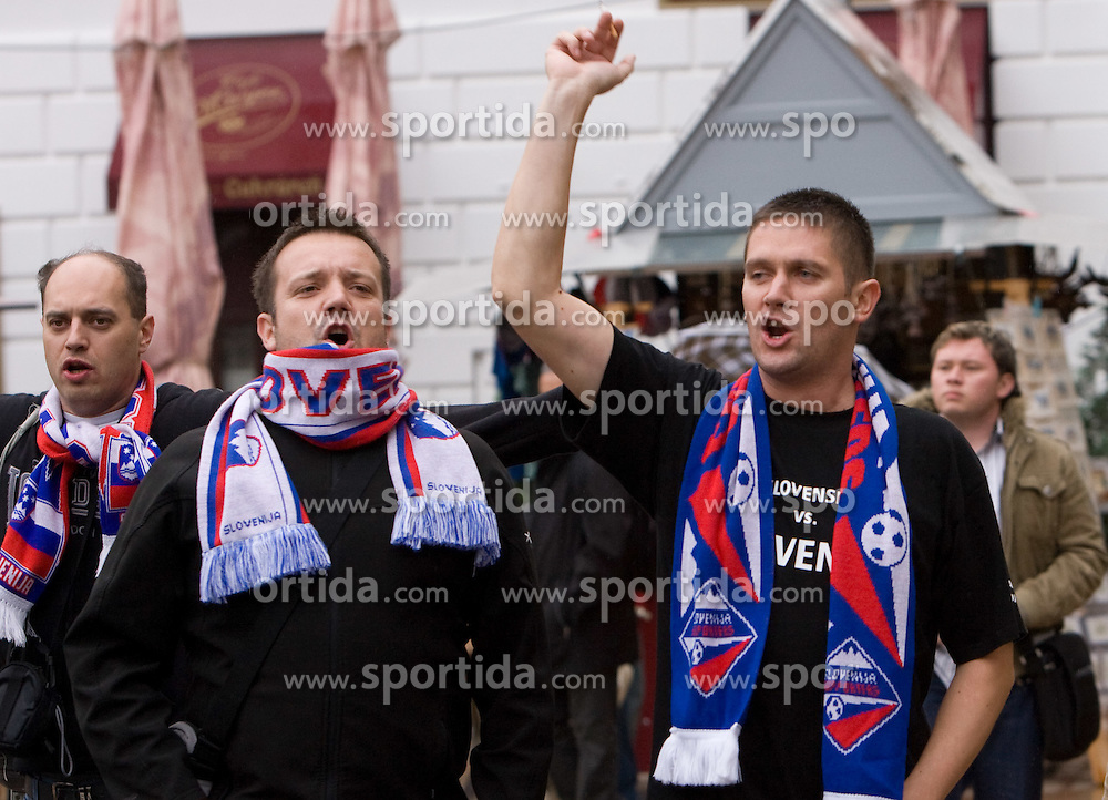 Slovenian fans celebrate in the Bratislava's streets before FIFA World Cup Qualifications match between Slovakia and Slovenia, on October 10, 2009, near Tehelne Pole Stadium, Bratislava, Slovakia.  (Photo by Vid Ponikvar / Sportida)
