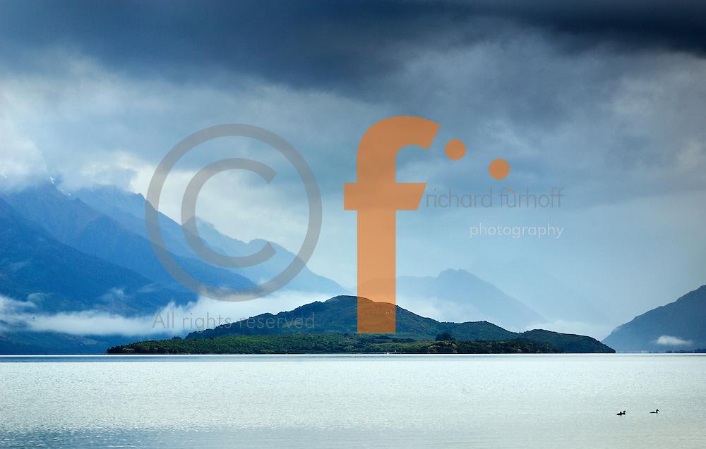 Richard Furhoff 100101_NewZealand_DSC4295_1.tif .Islands, Lake Wakatipu, looking north toward Glenorchy. New Zealand....