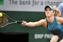 May 30, 2018 - Paris, France - 4th seeded Elina Svitolina of Ukraine returns a shot during the women's singles second round match against Viktoria Kuzmova of Slovakia at the French Open Tennis Tournament 2018 in Paris, France on May 30, 2018. Elina Svitolina won 2-0. (Credit Image: © Chen Yichen/Xinhua via ZUMA Wire)