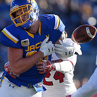 A pass intended for SDSU's Dallas Goedert is broken up by USD's Jacob Warner at Dana J. Dykhouse Stadium on Saturday in Brookings.
