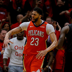 Apr 19, 2018; New Orleans, LA, USA; New Orleans Pelicans forward Anthony Davis (23) reacts after scoring against the Portland Trail Blazers during the second half in game three of the first round of the 2018 NBA Playoffs at the Smoothie King Center. The Pelicans defeated the Trail Blazers 119-102.  Mandatory Credit: Derick E. Hingle-USA TODAY Sports