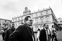 CATANIA, ITALY - 28 OCTOBER 2017: Governor of Sicily Rosario Crocetta is seen here as he walks in the historical center of Catania on week before the Sicilian regional election in which he's not running for a second term, in Catania, Italy, on October 28th 2017.<br /> <br /> The Sicilian regional election for the renewal of the Sicilian Regional Assembly and the election of the President of Sicily will be held on 5th November 2017.