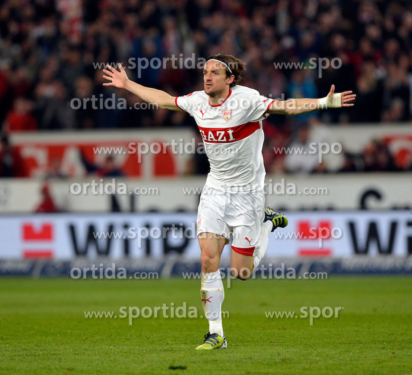 13.04.2012, Mercedes Benz Arena, Stuttgart, GER, 1. FBL, VfB Stuttgart vs SV Werder Bremen, 31. Spieltag, im Bild Torjubel, Jubel, Freude, Emotion 1:1 durch Christian GENTNER VfB Stuttgart // during the German Bundesliga Match, 31th Round between VfB Stuttgart and SV Werder Bremen at the Mercedes Benz Arena. Stuttgart, Germany on 2012/04/13. EXPA Pictures © 2012, PhotoCredit: EXPA/ Eibner/ Weber..***** ATTENTION - OUT OF GER *****