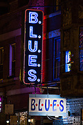 Neon sign at B.L.U.E.S club in Chicago USA