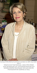 Actress ANNE REID at a dinner in London on 28th April 2001.ONI 2